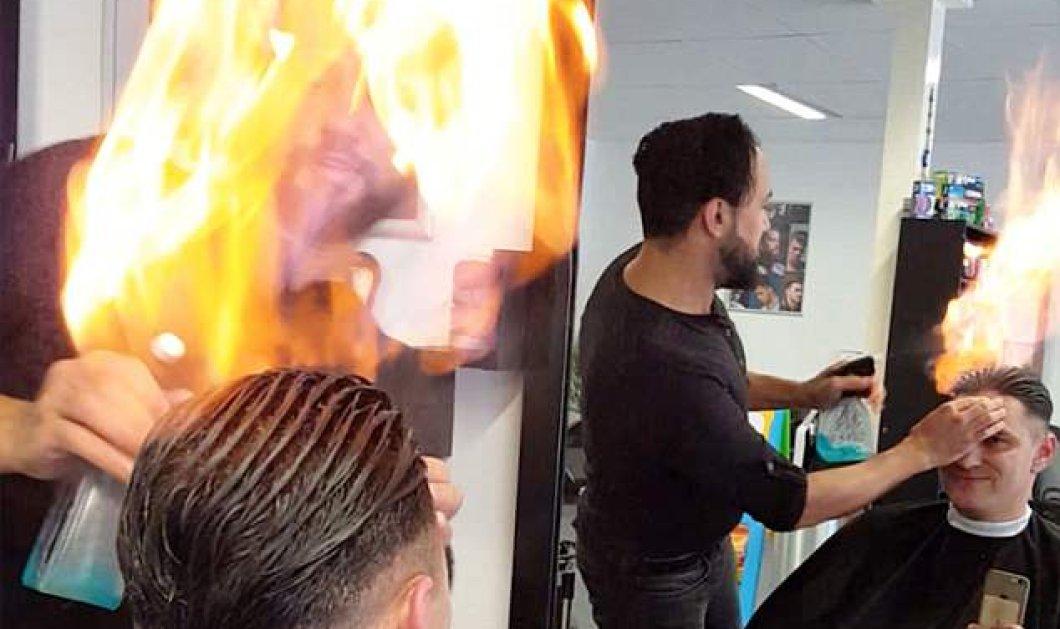 Απίστευτο βίντεο με κομμωτή που χρησιμοποιεί φωτιά για να χτενίσει τα μαλλιά των πελατών του!   - Κυρίως Φωτογραφία - Gallery - Video