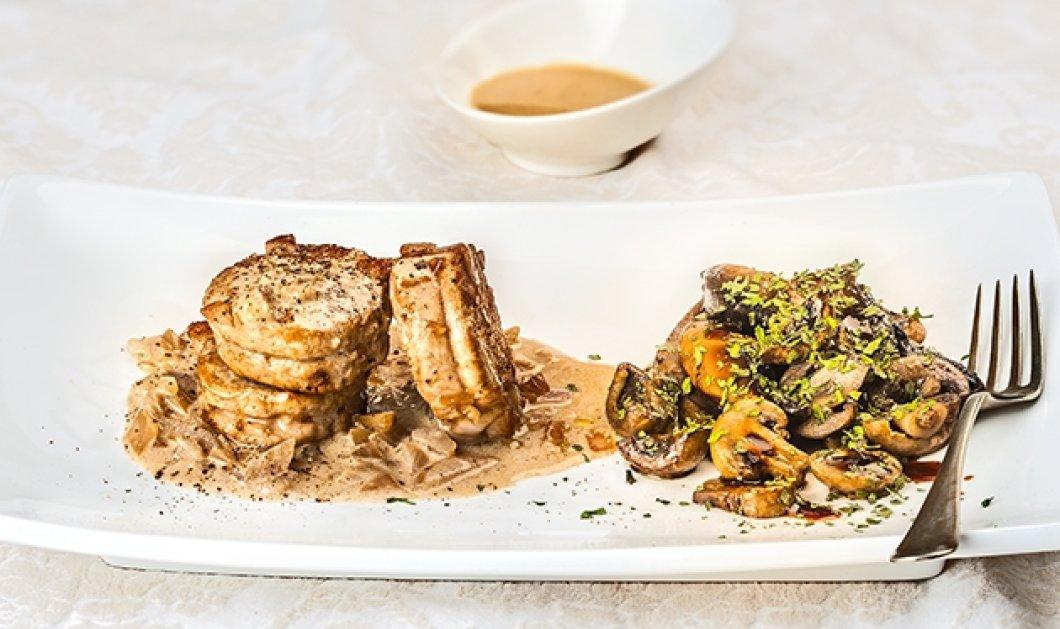 Ψαρονέφρι με ζεστή σαλάτα Portobello και σάλτσα κρέμας από την Αργυρώ - Κυρίως Φωτογραφία - Gallery - Video
