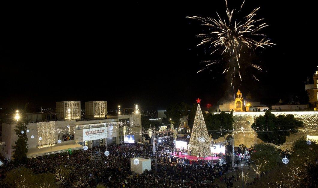 Υπέροχες εικόνες: Άναψαν το χριστουγεννιάτικο δέντρο στη Βηθλεέμ (φωτό-βίντεο) - Κυρίως Φωτογραφία - Gallery - Video