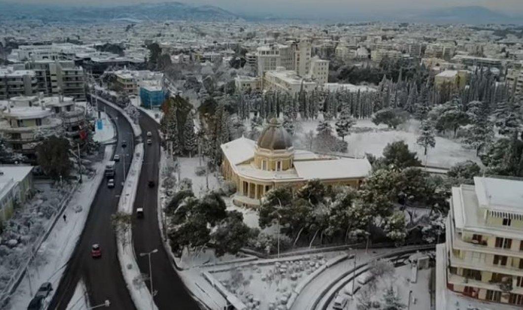 Βίντεο με την χιονισμένη Κηφισιά από drone - Θα σας καταπλήξει το κατάλευκο τοπίο του προαστίου - Κυρίως Φωτογραφία - Gallery - Video