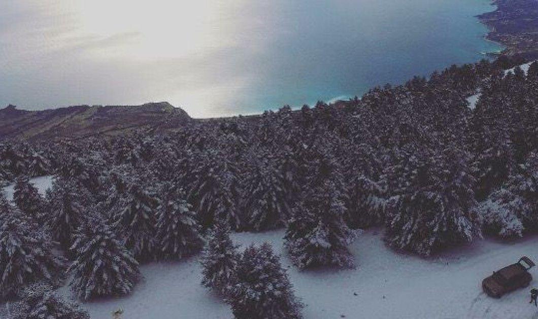 Η Κεφαλλονιά «ντύθηκε» στα λευκά - Δείτε συγκλονιστικό βίντεο με το χιονισμένο νησί του Ιονίου - Κυρίως Φωτογραφία - Gallery - Video