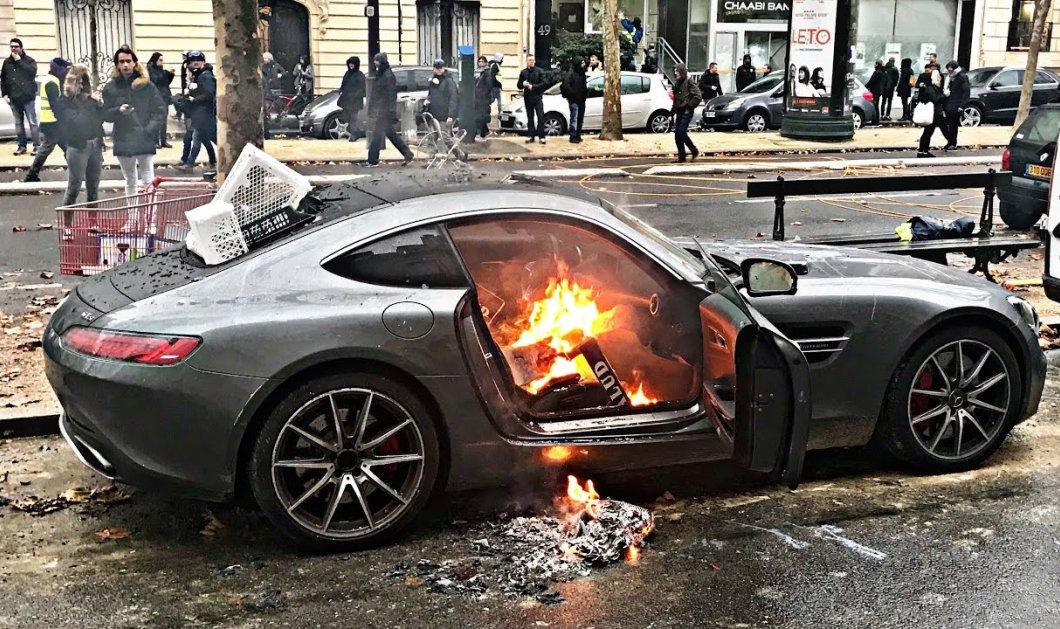 """Φώτο & βίντεο: """"Κίτρινος πυρετός"""" στο Παρίσι: έκαψαν Porsche και Ferrari για ένα ακόμη Σαββατοκύριακο οι διαδηλωτές  - Κυρίως Φωτογραφία - Gallery - Video"""