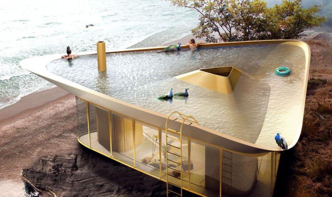 Αυτή η βιλάρα έχει οροφή που μετατρέπεται σε πισίνα - Δείτε φωτό  από ένα αρχιτεκτονικό θαύμα  - Κυρίως Φωτογραφία - Gallery - Video