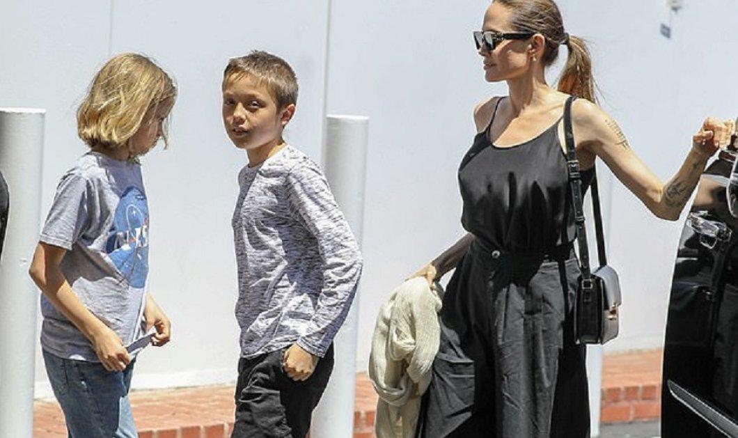 Η Αντζελίνα Τζολί επανεμφανίστηκε με τα δίδυμα της - Ντύσιμο casual, τσάντα πανάκριβη (φώτο) - Κυρίως Φωτογραφία - Gallery - Video