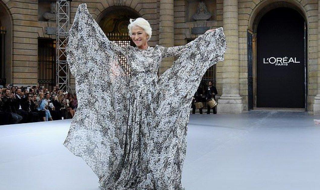 Helen Mirren 74 και να καίει! Ξυπόλυτη με απίθανη τουαλέτα & φοβερό μακιγιάζ ανέβηκε σε πασαρέλα στο Παρίσι (φωτό) - Κυρίως Φωτογραφία - Gallery - Video