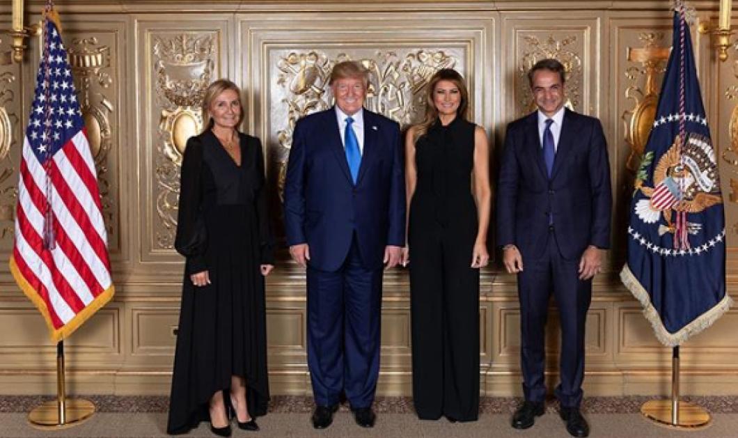 Το απαράμιλλο all black της  Μελάνια Τραμπ & της Μαρέβα Μητσοτάκη  - Πλάι τα blue suits του πλανητάρχη & του Έλληνα Πρωθυπουργού (φωτό) - Κυρίως Φωτογραφία - Gallery - Video