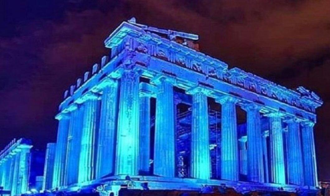 Η Ακρόπολη ωραία στα μπλε: Φωτίστηκε εντυπωσιακά - Δείτε την & σε βίντεο - Κυρίως Φωτογραφία - Gallery - Video