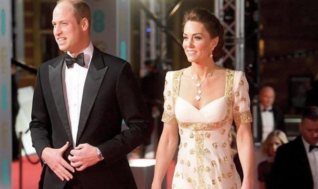 Η Πριγκίπισσα Kate φόρεσε ολοκέντητη τουαλέτα με χρυσά πουά  - Ο περίτεχνος κότσος  στα Bafta, ο χαρούμενος William (φωτό) - Κυρίως Φωτογραφία - Gallery - Video