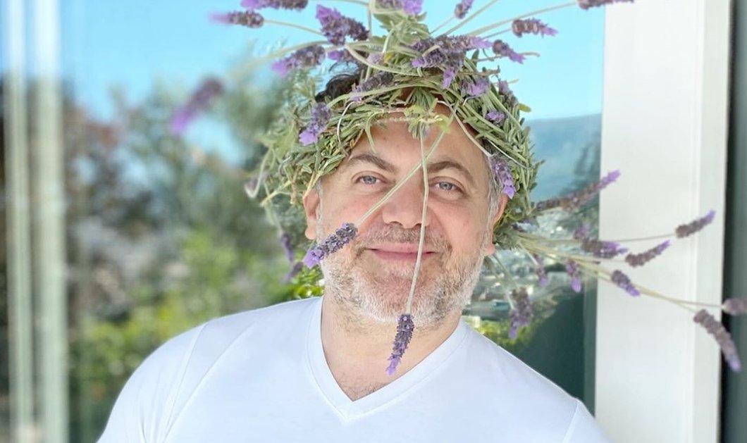 Ο Μιχάλης Κεφαλογιάννης έχει κέφια: Έστεψε εαυτόν με στεφάνι από λεβάντες (φωτό) - Κυρίως Φωτογραφία - Gallery - Video