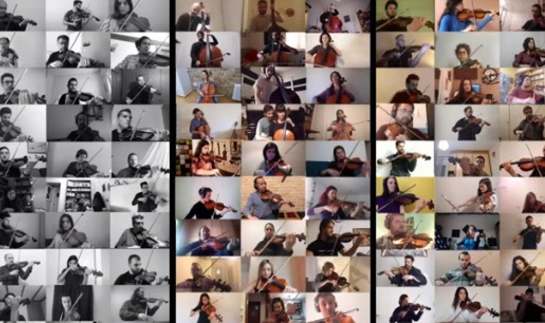 "To βίντεο της ημέρας: 100 βιολιά από όλη την Ελλάδα παίζουν τον ""Μπάλο"" μέσα στην καραντίνα - Βιολιά, βιόλες, βιολοντσέλα, κοντραμπάσα - Κυρίως Φωτογραφία - Gallery - Video"