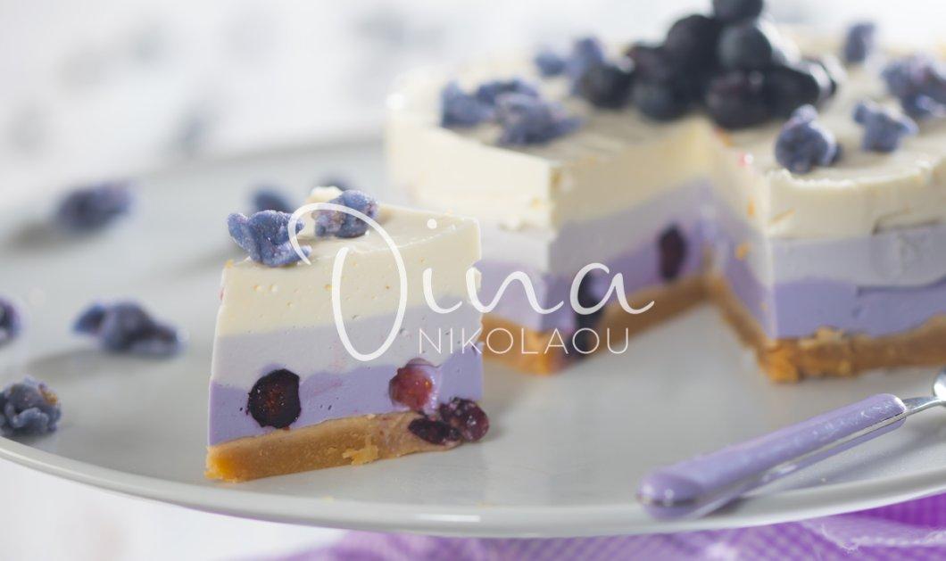 Θα το λατρέψετε: Cheesecake τρίχρωμο με μύρτιλα από τη Ντίνα Νικολάου - Κυρίως Φωτογραφία - Gallery - Video