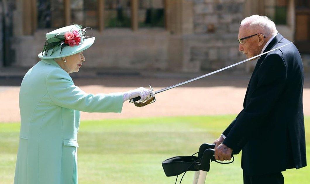 Η Βασίλισσα Ελισάβετ έδωσε τον τίτλο του Sir στον 100χρονο Τομ Μουρ που μάζεψε 33 εκ. λίρες για το Εθνικό Σύστημα Υγείας - Οι ευχές του Beckham (Φωτό & Βίντεο)  - Κυρίως Φωτογραφία - Gallery - Video