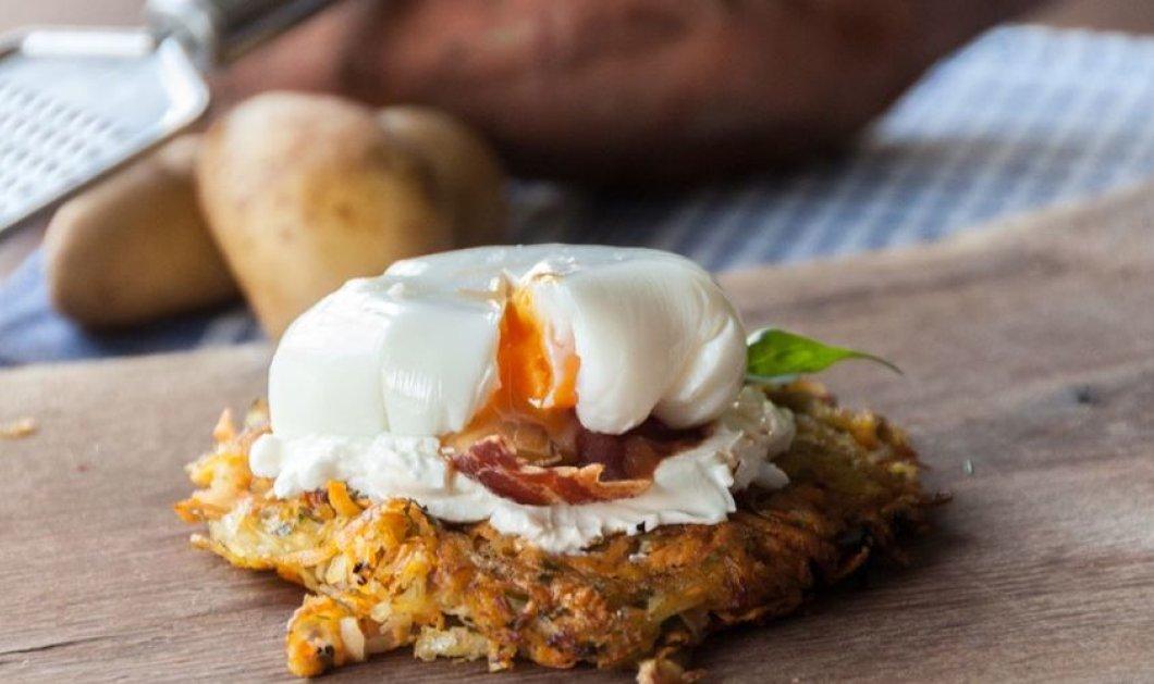 Μια πεντανόστιμη συνταγή από τον Άκη Πετρετζίκη - Γλυκοπατάτες ροστί με αβγά ποσέ  - Κυρίως Φωτογραφία - Gallery - Video