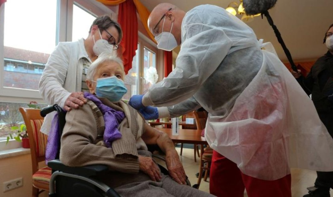Topwomen η 101 ετών Έντιτ από την Γερμανία & η 96χρονη  Αρασέλι Ροσάριο από την Ισπανία - Πρώτες των πρώτων εμβολιάστηκαν (φωτό) - Κυρίως Φωτογραφία - Gallery - Video