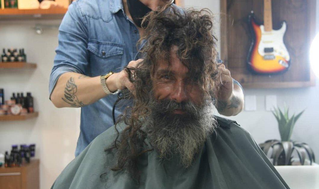 Story of the day: Ο άστεγος που έμοιαζε με αγριάνθρωπο μεταμορφώθηκε σε γοητευτικό Βραζιλιάνο - Τον κούρεψαν & τον έντυσαν (φωτό) - Κυρίως Φωτογραφία - Gallery - Video