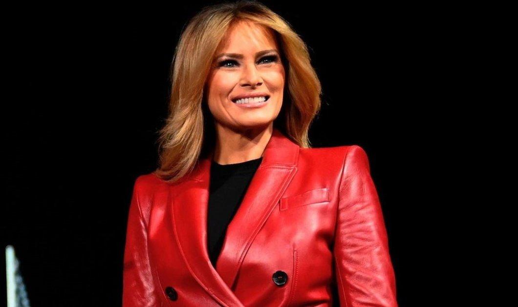 """Μελάνια Τραμπ: Με το ωραιότερο δερμάτινο, μεσάτο, μπορντό με πιέτες παλτό 6.000 δολαρίων – Γόβα """"zebra"""" (Φωτό & Βίντεο)  - Κυρίως Φωτογραφία - Gallery - Video"""