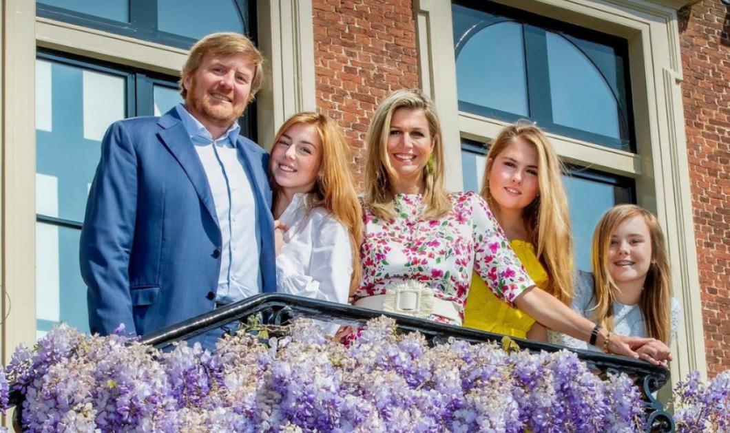 H Bασιλική οικογένεια της Ολλανδίας & η Χριστουγεννιάτικη κάρτα της που όμως είναι Πασχαλινή - Με μωβ γλιτσίνια & ανοιξιάτικο σύνολο  - Κυρίως Φωτογραφία - Gallery - Video