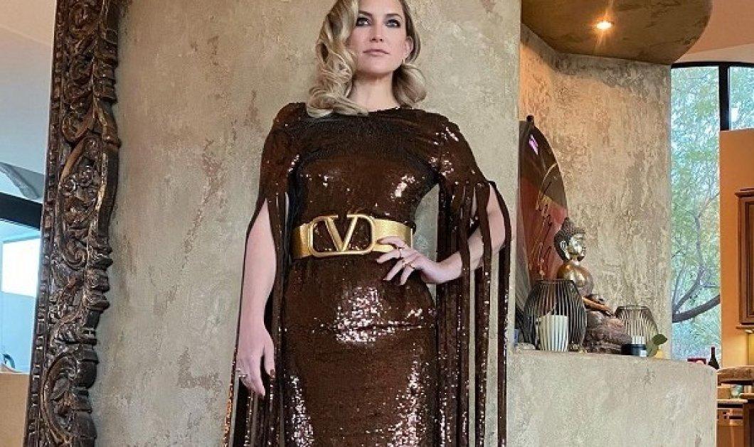 H Kate Ηudson έτοιμη για έξοδο! Φόρεσε το πιο «party» φόρεμα από Valentino - Αστραφτερό με χρυσή ζώνη & κρόσια για μανίκια (φωτό & βίντεο) - Κυρίως Φωτογραφία - Gallery - Video
