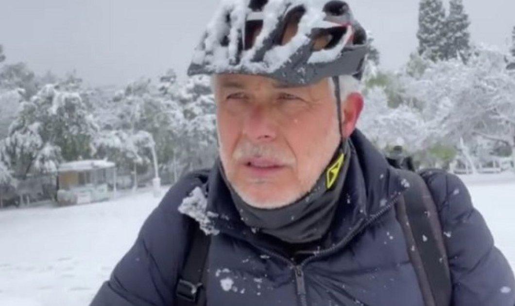 Ο Χάρης Χριστόπουλος κάνει ποδήλατο μέσα στο χιόνι ενώ χιονίζει αδιάκοπα… γενναίος άντρας (βίντεο) - Κυρίως Φωτογραφία - Gallery - Video