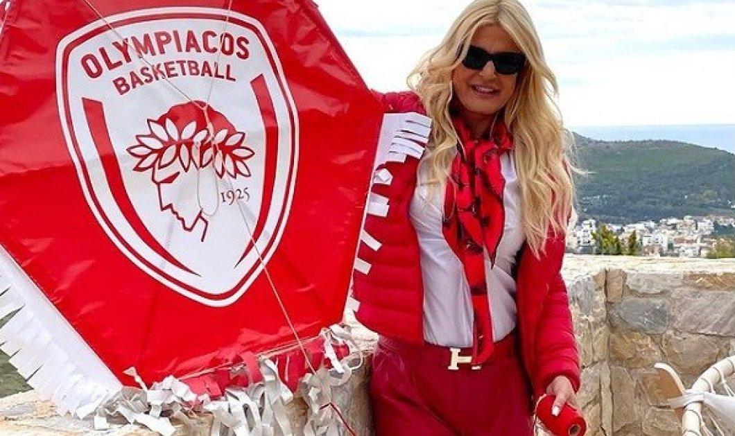 Η Μαρίνα Πατούλη δεν κρύβεται!!! Ολοκόκκινη οπαδός, Ολυμπιακάρα (φωτό) - Κυρίως Φωτογραφία - Gallery - Video