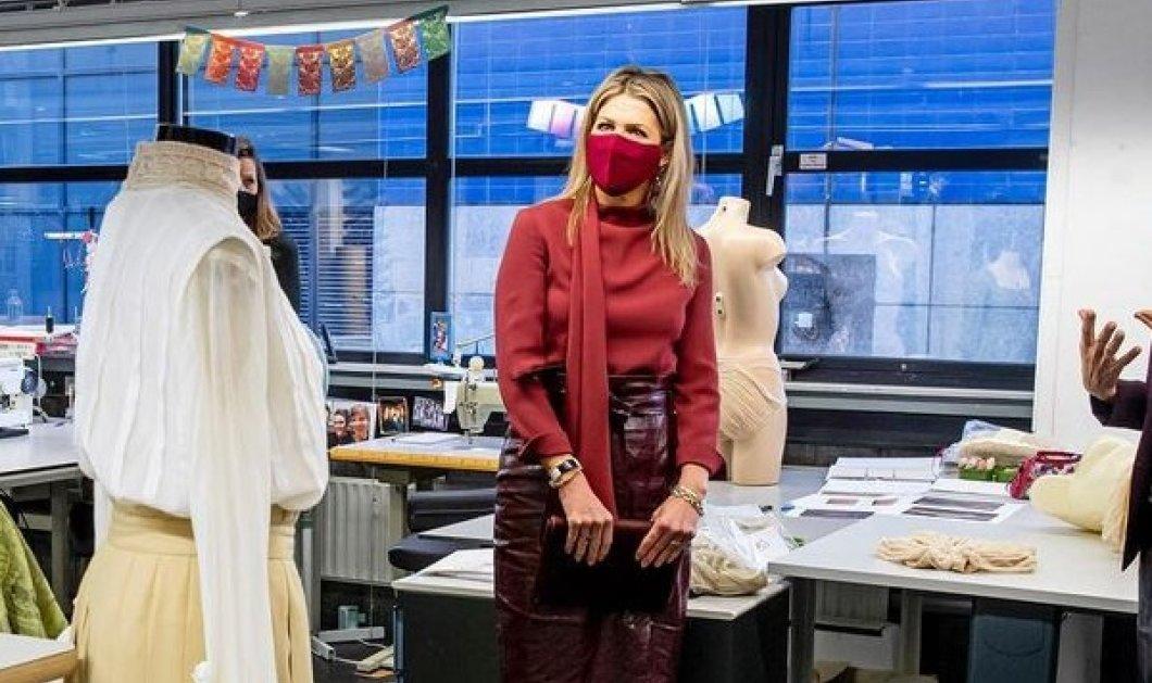 Μες τα μπορντό η βασίλισσα Μάξιμα της Ολλανδίας: Παραδίδει μαθήματα στυλ με μια υπέροχη δερμάτινη φούστα (φωτό) - Κυρίως Φωτογραφία - Gallery - Video