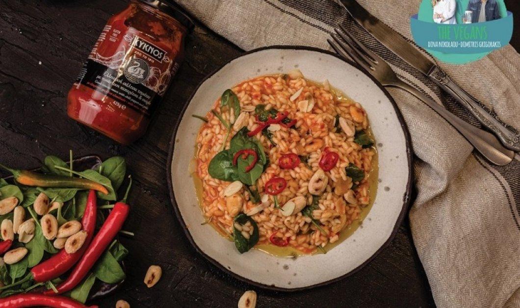 Ριζότο κοκκινιστό με σπανάκι & καβουρντισμένα αμύγδαλα - Όνειρο η gourmet πρόταση της Ντίνας Νικολάου για τη Σαρακοστή  - Κυρίως Φωτογραφία - Gallery - Video