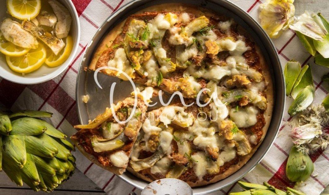 Ανοιξιάτικη και πεντανόστιμη η πίτσα της Ντίνας Νικολάου: Με αγκινάρες λιαστή ντομάτα & σκόρδο  - Κυρίως Φωτογραφία - Gallery - Video
