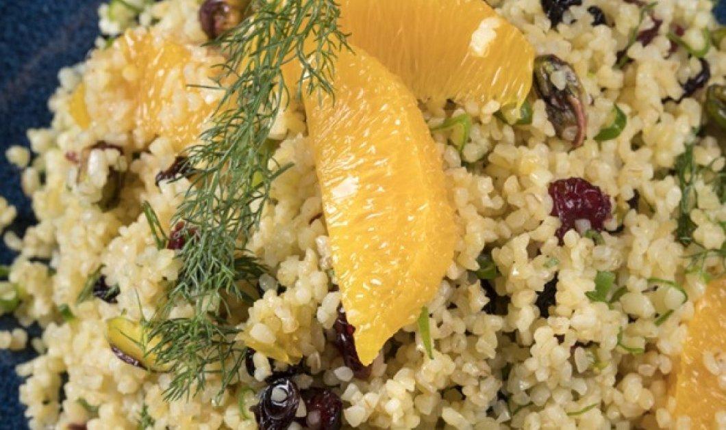 Σαλάτα με πλιγούρι, πορτοκάλι & κράνμπερι από τον Γιάννη Λουκάκο - Είναι light, vegetarian και πολύ νόστιμη - Κυρίως Φωτογραφία - Gallery - Video