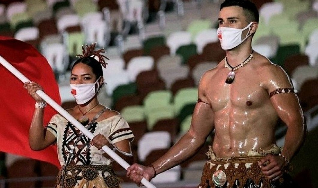 Τόκιο 2020: Ποιος είναι ο Pita Taufatofua που παρέλασε ημίγυμνος - η τελετή έναρξης με τον σημαιοφόρο της Τόνγκα είναι αλλιώς (φωτό & βίντεο) - Κυρίως Φωτογραφία - Gallery - Video