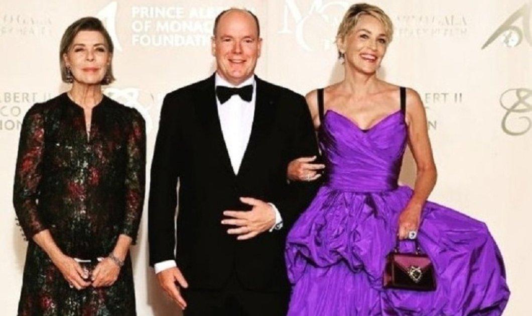 Εντυπωσιακή με μωβ Dolce & Gabbana τουαλέτα η Σάρον Στόουν στο πλευρό του πρίγκιπα Αβέρτου - Βραβεύτηκε στο γκαλά του Μονακό (φώτο) - Κυρίως Φωτογραφία - Gallery - Video