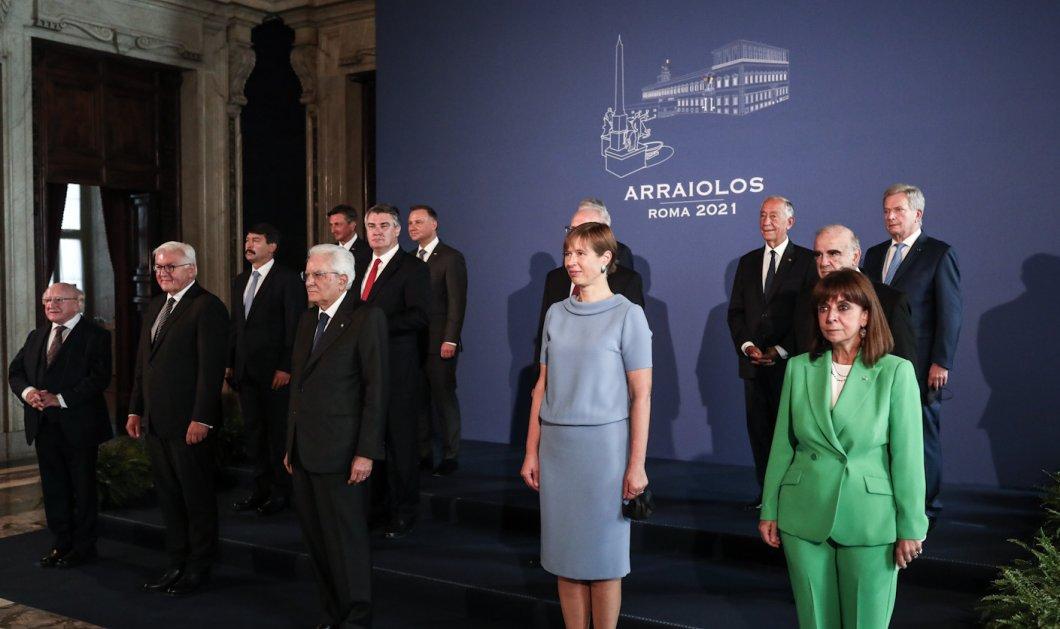 Με στυλάτο look & πράσινο κοστούμι στη Ρώμη η Κατερίνα Σακελλαροπούλου -H ΠτΔ μετέχει στην σύνοδο αρχηγών - κρατών Arraiolos (φωτό) - Κυρίως Φωτογραφία - Gallery - Video