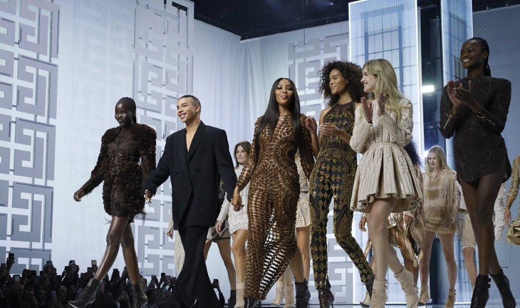 All Star Cast στο επετειακό ντεφιλέ - υπερπαραγωγή του Balmain -Naomi & Carla Bruni με υπέροχα ρούχα σε ένα φαντασμαγορικό show (φώτο-βίντεο) - Κυρίως Φωτογραφία - Gallery - Video