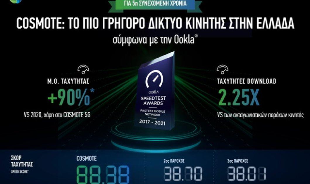Η COSMOTE αναδεικνύεται «το πιο γρήγορο δίκτυο κινητής στην Ελλάδα» - Για 5η συνεχόμενη χρονιά  - Κυρίως Φωτογραφία - Gallery - Video