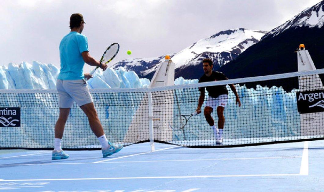 Μμμ θεσπέσιο παιχνίδι τένις του Ναδάλ με τον Νόβακ Τζόκοβιτς πάνω στον πάγο - εικόνες ομορφιάς σε αυτό το βίντεο συνδυασμό σπορ και χειμωνιάτικης φύσης (βίντεο) - Κυρίως Φωτογραφία - Gallery - Video