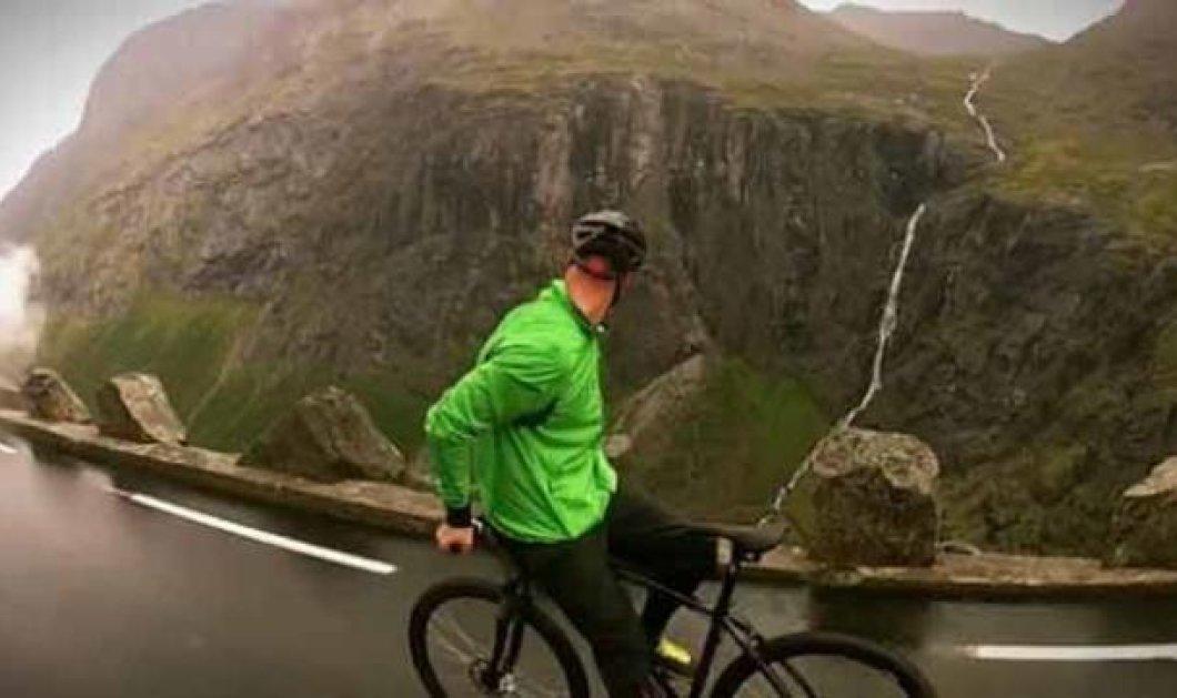 Ριψοκίνδυνος ποδηλάτης κατεβαίνει ένα βουνό...με την όπισθεν (βίντεο) - Κυρίως Φωτογραφία - Gallery - Video