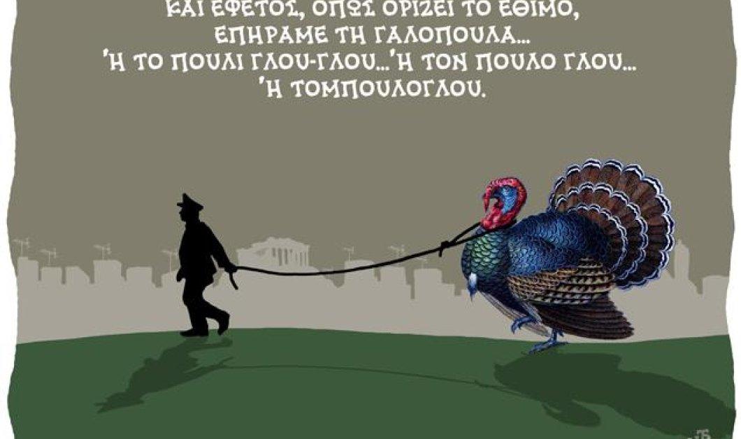 Smile: Η ξεκαρδιστική γελοιογραφία του Δημήτρη Χαντζόπουλου και το λογοπαίγνιο με τη γαλοπούλα και τον Τομπούλογλου - Κυρίως Φωτογραφία - Gallery - Video
