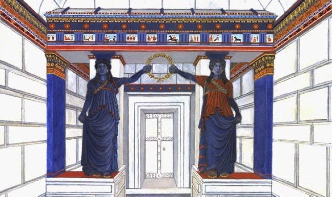 Good News η εντυπωσιακή χρωματιστή αναπαράσταση της πύλης των Καρυάτιδων της Αμφίπολης! (φωτό) - Κυρίως Φωτογραφία - Gallery - Video