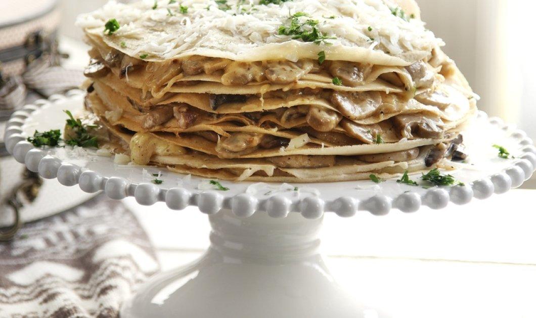 Λαχταριστή αλμυρή τούρτα με κρέπες - Με προβολόνε ή με μοτσαρέλα από τον Άκη Πετρετζίκη! - Κυρίως Φωτογραφία - Gallery - Video