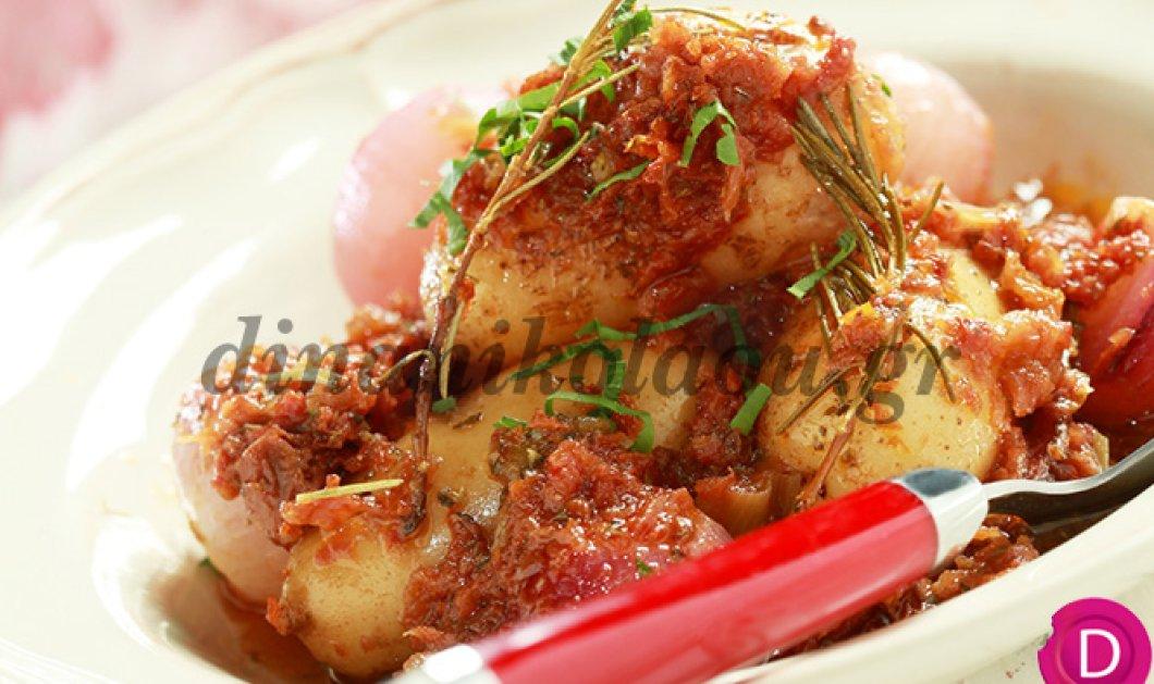 H σεφ Ντίνα Νικολάου κάνει την κουζίνα μας να μοσχομυρίσει καθώς μας φτιάχνει πατάτες στιφάδο στη γάστρα με μυρωδικά! - Κυρίως Φωτογραφία - Gallery - Video