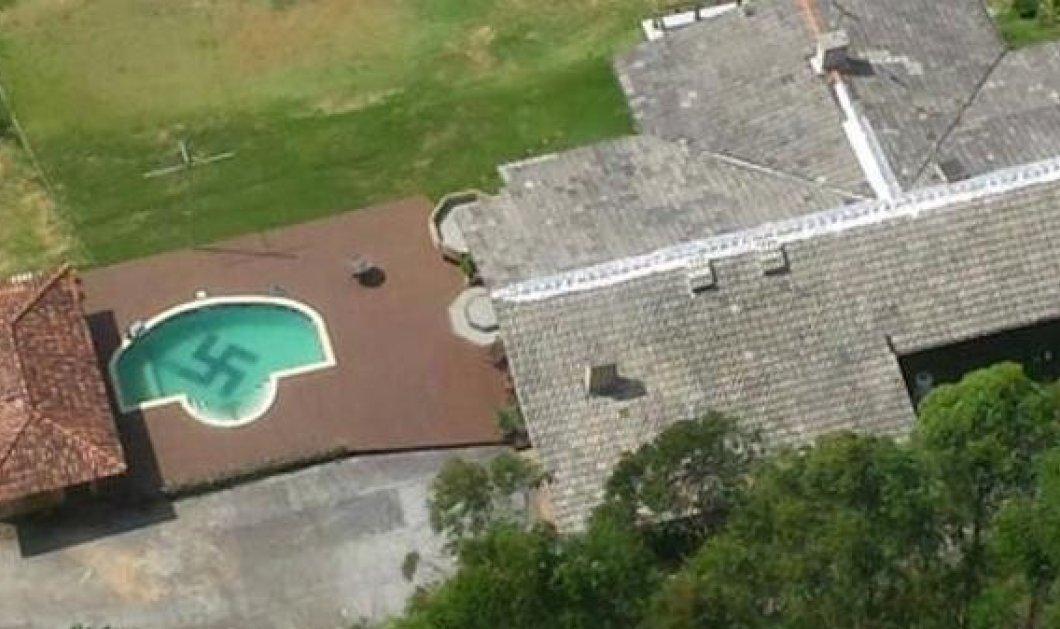 Ναζί στην Βραζιλία - Νοσταλγός του Χίτλερ ζωγράφισε την σβάστιγκα μέσα στην πισίνα του! Φωτό από ελικόπτερο! - Κυρίως Φωτογραφία - Gallery - Video