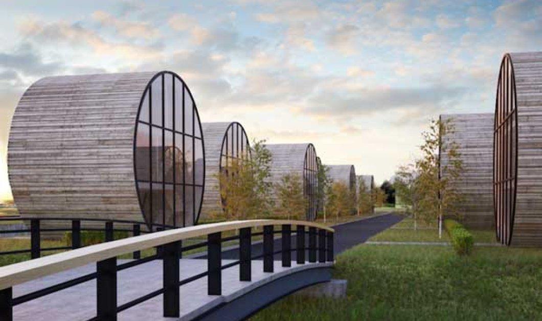 Πρωτοπoριακό! Σπίτια σε σχήμα βαρελιού σχεδίασαν μοντέρνοι αρχιτέκτονες - Μια ολόκληρη συνοικία πάνω στο ποτάμι! - Κυρίως Φωτογραφία - Gallery - Video