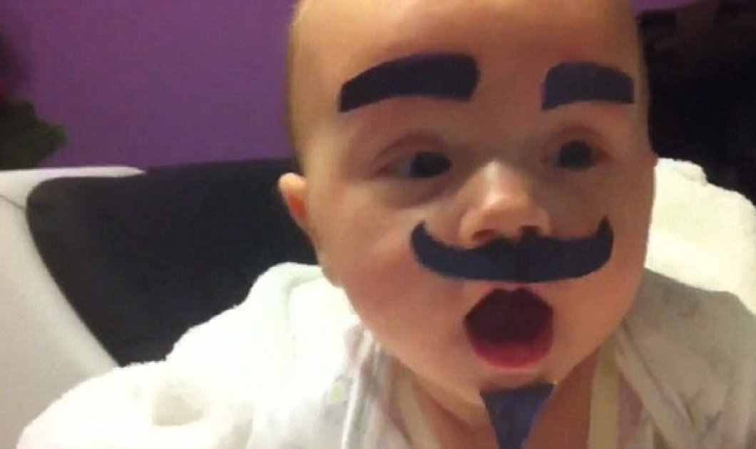 Smileeee! O μπαμπάς μένει μόνος στο σπίτι & βάζει μουστάκια στην μπεμπούλα του - το γέλιο!!!! - Κυρίως Φωτογραφία - Gallery - Video