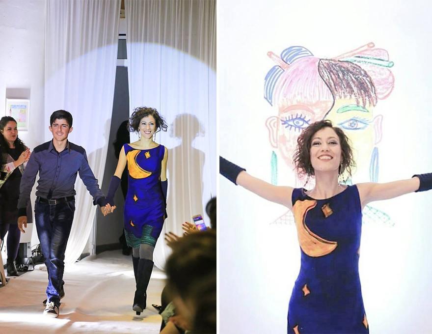 ... με την σχεδιάστρια μόδας Mirela Nurce και την υποστήριξη της πρεσβείας  της Ελβετίας κατάφεραν να μετατρέψουν τις ζωγραφιές των παιδιών σε φορέματα. c06fea52b5a